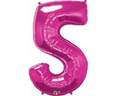 Qualatex 30571 Nummer fünf Folie Ballon, magenta, Blumenkasten