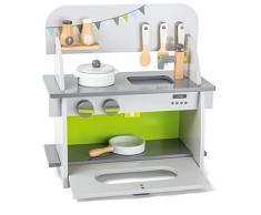 small foot 11158 Kinderküche Kompakt aus Holz, mit Backofen, Drehknöpfen, Topf, Pfanne und Küchenhelfer, ab 3 Jahren