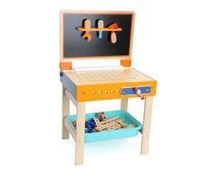 Werkbank und Maltisch als 2-in 1 Spielzeug aus Holz, bietet viel Platz für beigelegtes Werkzeug wie Hammer, umklappbare Rückwand dient als Maltisch, inklusive Papierrolle und Stiftebox