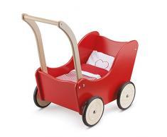 New Classic Toys - 10750 - Puppen & Zubehör - Puppenwagen - Rot - Einschließlich Bettgarnitur