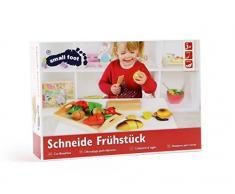 Schneide Frühstück aus Holz, verschiedene Lebensmittel, wie Obst und Gemüse mit Klettverschlüssen zum Zerteilen und Zusammenfügen, Kinderküchen Zubehör inkl. kleinem Brettchen, Tablett und Besteck