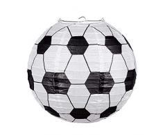 Boland 62504 - Papierlaterne Fußball mit Stahldraht Rahmen, Größe 25 cm, Lampion, Hängedekoration, WM, EM, Public Viewing, Garten Party, Motto Party, Karneval