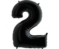 Trendario Folienballon Zahl 2 (Schwarz) - XXL Riesenzahl 100cm Ballon - Helium Luftballons für Geburtstag, Partydeko, Hochzeit (Zahl 0, Silber)