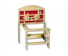 Beluga Spielwaren 30830 - Kaufladen aus Holz Maߟe: 115 x 75 x 84 cm natur / rot