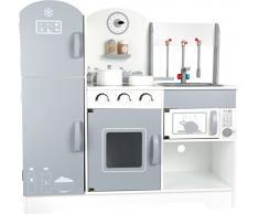 small foot 10598 Kinderküche grau modern aus Holz mit aufklappbarem Kühl-und Gefrierschrank Spielzeug