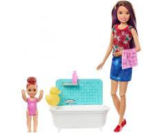 Barbie FXH05 - Skipper Babysitters Inc. Puppen und Babysitting Bad Spielset, mit braunen Haaren, Puppen Spielzeug und Puppenzubehör ab 3 Jahren