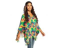 Boland 83886 - Poncho Hippie mit Stirnband, Einheitsgröße für Erwachsene, Kostüm, Flower Power, Peace, Überwurf, Motto Party, Karneval