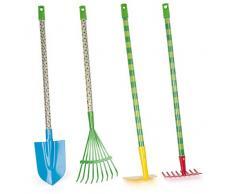 Small Foot 11175 Raupe Nimmersatt Gartenwerkzeuge-Set mit Spaten, Rechen, Harken und Laubbesen, in Kindergröße, für kleine Gartenfans ab 5 Jahren Spielzeug, Mehrfarbig