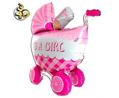 Riesiger 3D Folienballon Kinderwagen Buggy Its A Girl 107cm Rosa XXL - Baby Party Geburt Taufe Mädchen Babyshower Ballon Luftballon Riesenballon Pink