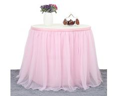 ManiSha Handmade 2 Yards 3 Schichten Mesh Fluffy Tutu Tüll Tisch Rock für Party, Hochzeit, Geburtstagsfeier, Baby Dusche Dekoration (L 9Fuß * H 30 inch, Rosa)