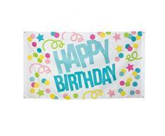 Boland 31001 - Dekorationsfahne Happy Birthday, 1 Stück, Größe 90 x 150 cm, Geburtstag, Konfetti, Luftschlange, Flagge, Polyester, Banner, Wanddekoration, Kindergarten, Party