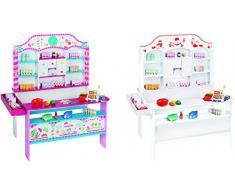 roba Kaufladen Candy-Shop inkl, Zubehör, Kinder Süßigkeiten- & Kaufmannsladen, Verkaufsstand bedruckt mit 6 Schubladen, Uhr, Theke, Seitentheke, Kasse & Kaufladenzubehör