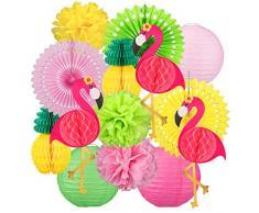 Whaline 14 Stück Flamingo Party Deko Set, Hängende Papierfächer und Ananas Deko, Seidenpapier Pompoms für Hawaiian Luau Strand Geburtstag Hochzeit Foto Dekor
