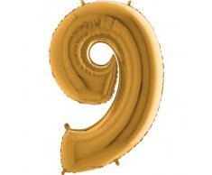 Trendario Folienballon Zahl 9 (Gold) - XXL Riesenzahl 100cm Ballon - Helium Luftballons für Geburtstag, Partydeko, Hochzeit (Zahl 0, Silber)