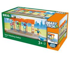 BRIO World 33874 Smart Tech Waschanlage für Züge - Waschstraße mit rollenden Walzen & Sound-Effekten - Interaktives Spielzeug empfohlen ab 3 Jahren