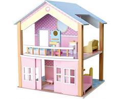 small foot 3110 Puppenhaus Blaues Dach aus Holz in zauberhaften Pastelltönen, inkl. 15 farbenfrohen Möbelstücken