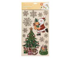 Dekosticker geprägt mit 3D Effekt Tannenbaum und Santa, 14 teilig Mehrfarbig