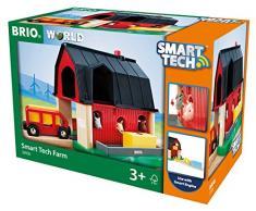 BRIO World 33936 Smart Tech Bauernhof - Spiel-Bauernhof mit Tieren & Heuwagen-Anhänger als Eisenbahnzubehör - Interaktives Spielzeug empfohlen ab 3 Jahren