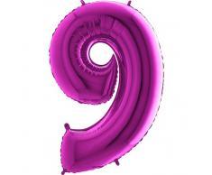 Trendario Folienballon Zahl 9 (Lila) - XXL Riesenzahl 100cm Ballon - Helium Luftballons für Geburtstag, Partydeko, Hochzeit (Zahl 0, Silber)