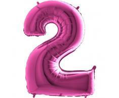 Trendario Folienballon Zahl 2 (Rosa) - XXL Riesenzahl 100cm Ballon - Helium Luftballons für Geburtstag, Partydeko, Hochzeit (Zahl 0, Silber)