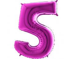 Trendario Folienballon Zahl 5 (Lila) - XXL Riesenzahl 100cm Ballon - Helium Luftballons für Geburtstag, Partydeko, Hochzeit (Zahl 0, Silber)