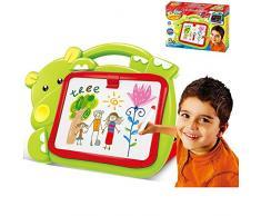 BAKAJI Magnettafel für Kinder Hippo 2 in 1 Doppelbett, mit Kreiden und Stiften, grün, Mehrfarbig, 8050534663297