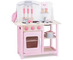 New Classic Toys - 11054 - Kinderrollenspiele - Hölzern Kinderküche Bon Appétit - Rose - Einschließlich Zubehör