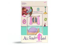 Nici 33238 - Spielhaus Schlafzimmer aus Karton mit Aufkleber