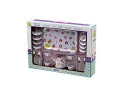 Tachan 78055519 Tee-Set mit Tablett aus Stahl, 19 Teile