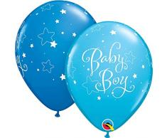 Qualatex 51787 Baby Boy Sterne rund und Robin Egg Latex Luftballons, dunkelblau, 27,9 cm, 25-teilig