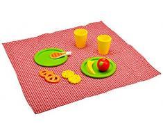 Idena 4100107 - Kleine Küchenmeister Picknick - Set aus Holz inklusive Picknickdecke, ca. 34 x 34 x 7 cm, 12-teilig