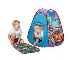 John 77025 Pop Up Spielzelt Street Fun 4 Spielzeugautos Spielteppich Kinderzelt Wurfzelt Spielhaus Kinder drinnen draußen, Blau