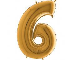 Trendario Folienballon Zahl 6 (Gold) - XXL Riesenzahl 100cm Ballon - Helium Luftballons für Geburtstag, Partydeko, Hochzeit (Zahl 0, Silber)