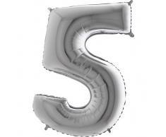 Trendario Folienballon Zahl 5 (Silber) - XXL Riesenzahl 100cm Ballon - Helium Luftballons für Geburtstag, Partydeko, Hochzeit (Zahl 0, Silber)