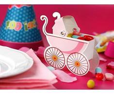 Unbekannt partydeco pudp4-r-karton – Set 10 x Kartonage Gastgeschenk Tischkarte A Form von Kinderwagen