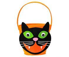 Widmann 01349 Süßes oder Saures Katzen Korb, Unisex-Kinder, Schwarz/Orange