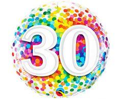 Qualatex 49526 049532 Folienballon Konfetti, rund, 30 Stück, regenbogenfarben