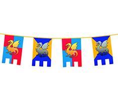 Boland 44000 - Wimpelkette Ritter und Drachen, Länge 6 m, Burg, Wappen, Hängedekoration, Girlande, Geburtstag, Partydekoration, Partygeschirr, Motto Party, Karneval