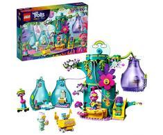 LEGO 41255 Party in Pop City Trolls World Tour, Baumhaus-Set mit 2 Wohnblüten, tragbares Spielzeug für unterwegs