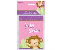 Unique Party Supplies Mädchen Monkey Baby Dusche Einladungen, 8 Stück