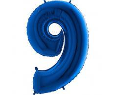 Trendario Folienballon Zahl 9 (Blau) - XXL Riesenzahl 100cm Ballon - Helium Luftballons für Geburtstag, Partydeko, Hochzeit (Zahl 0, Silber)