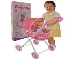 Allkindathings cs8829 Kid Mädchen pink Buggy Kinderwagen 4 x Wheeler Kinderwagen Kinder mit Puppe