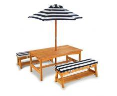 KidKraft 106 Gartenmöbel-Set mit Tisch, Bank, Kissen und Sonnenschirm aus Holz für Kinder - dunkelblau & weiß gestreift