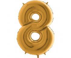 Trendario Folienballon Zahl 8 (Gold) - XXL Riesenzahl 100cm Ballon - Helium Luftballons für Geburtstag, Partydeko, Hochzeit (Zahl 0, Silber)
