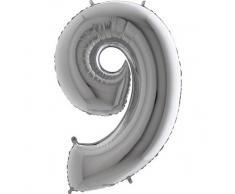 Trendario Folienballon Zahl 9 (Silber) - XXL Riesenzahl 100cm Ballon - Helium Luftballons für Geburtstag, Partydeko, Hochzeit (Zahl 0, Silber)