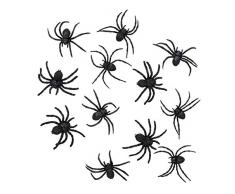 Boland 74466 - Spinnen Set, 12 Stück, Größe 7 x 8 cm, Schwarz, Achtbeiner, Krabbeltiere, Tiere, Accessoire, Dekoration, Halloween, Motto Party, Karneval