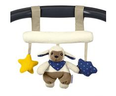 Sterntaler Spielzeug zum Aufhängen mit Klettverschluss, Schaf Stanley, Inklusive Rassel, Alter: Für Babys ab der Geburt, Beige