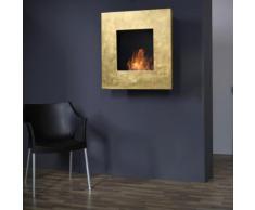 muenkel design square fire 75 Bio Wandkamin: Blattgold