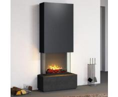 muenkel design Prato Elektrokamin Opti-myst heat: Negro (Schiefer schwarz) - Haube Schwarzgrau - Ohne Heizung - 90 cm