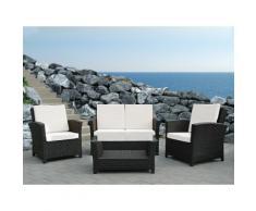 Lounge Set Rattan dunkelbraun 4-Sitzer Auflagen weiss RIMINI